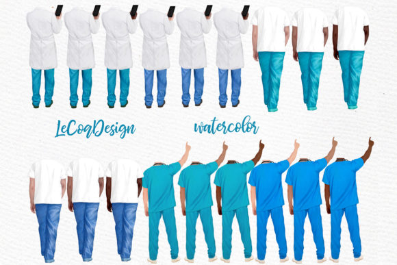 Doctors Clipart,Nurses Scrubs Graphic Illustrations By LeCoqDesign