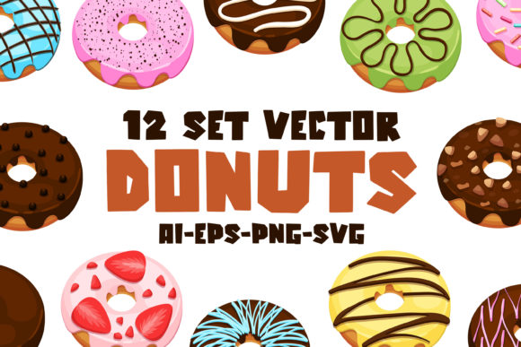 Print on Demand: Donuts  - Vector Set Graphic Illustrations By almarkhatype
