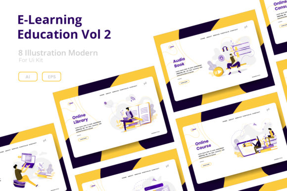 Download Free E Learning Education Vol 2 Graphic By Twiri Creative Fabrica for Cricut Explore, Silhouette and other cutting machines.