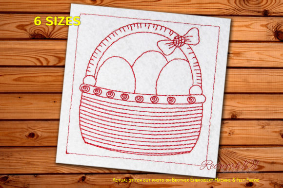 Easter Basket with Eggs Redwork Easter Embroidery Design By Redwork101