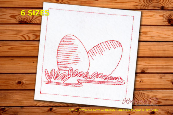 Easter Egg Redwork Easter Embroidery Design By Redwork101