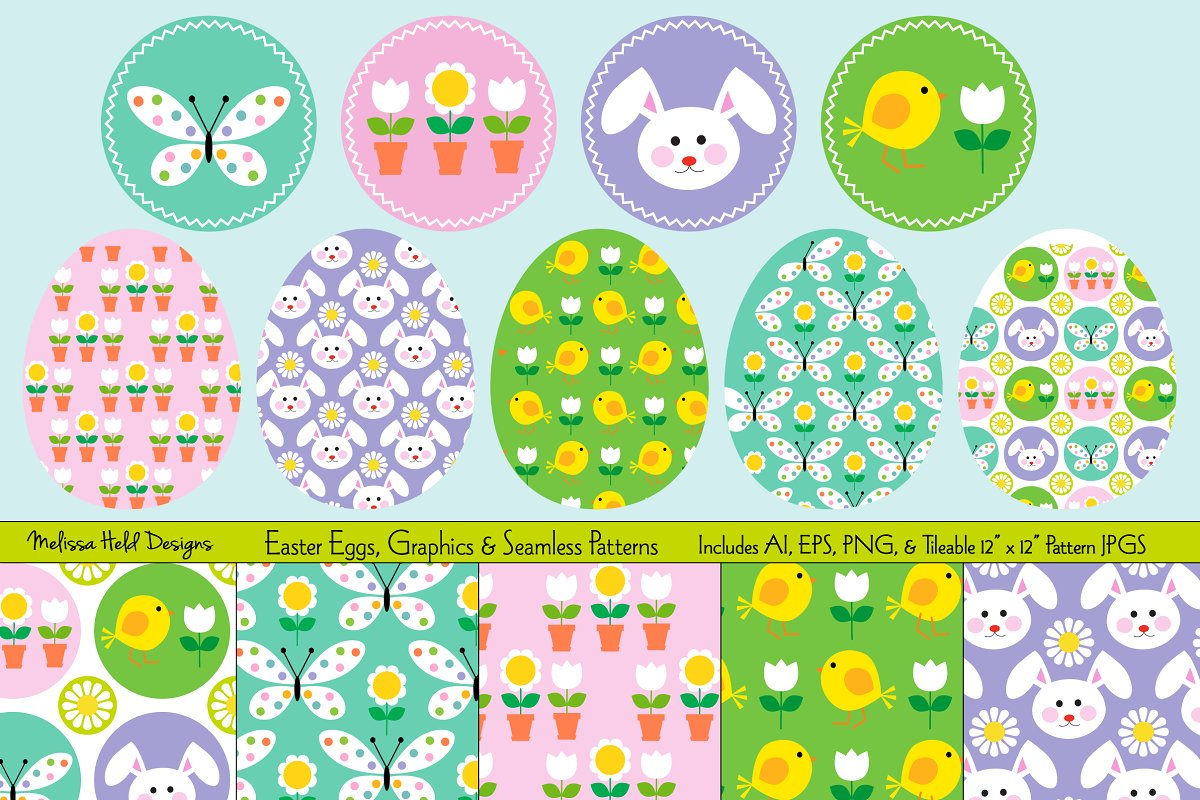 Download Free Easter Eggs Graphics Seamless Patter Graphic By Melissa Held for Cricut Explore, Silhouette and other cutting machines.