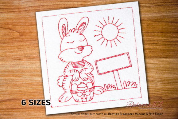 Easter Rabbit with Egg Redwork Easter Embroidery Design By Redwork101