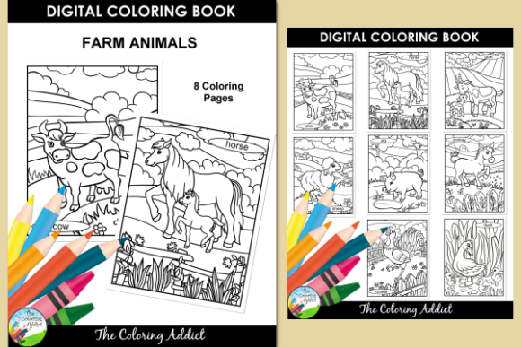 Print on Demand: Farm Animals Coloring Book Gráfico Libros para colorear - Niños Por Aisne