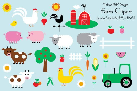 Farm Clipart Graphic Illustrations By Melissa Held Designs
