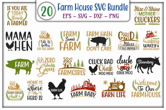 Download Free Farm House Bundle Graphic By Graphicsbooth Creative Fabrica for Cricut Explore, Silhouette and other cutting machines.