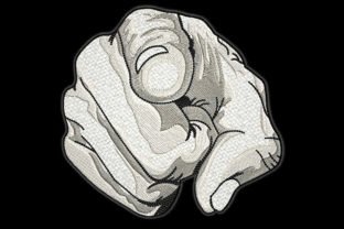 Print on Demand: Finger Pointing Greyscale Drawing Effect Awareness Embroidery Design By Embroidery Shelter