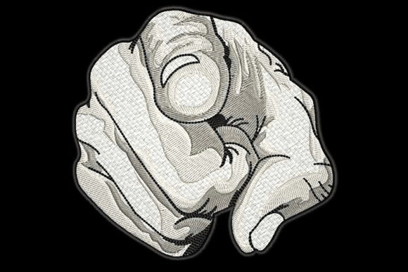 Finger Pointing Greyscale Drawing Effect Awareness Embroidery Design By Embroidery Shelter