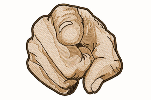 Finger Pointing Greyscale Drawing Effect Embroidery Download