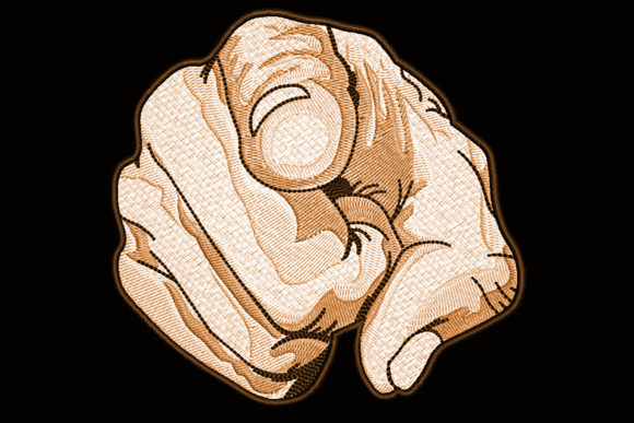 Finger Pointing Greyscale Drawing Effect Embroidery Item