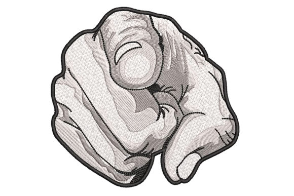 Finger Pointing Greyscale Drawing Effect Embroidery Design