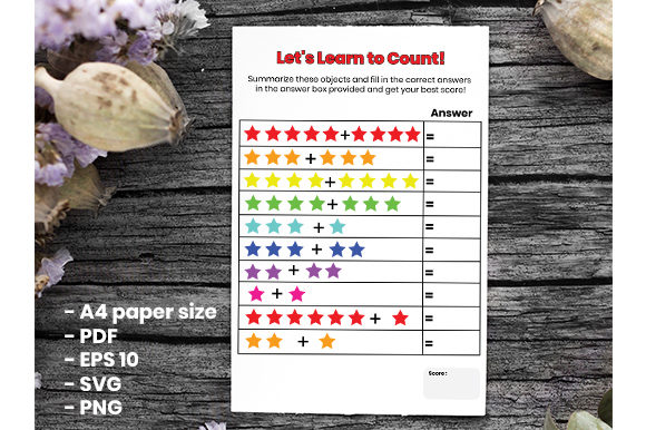 Print on Demand: First Grade Count Learning Template Graphic 1st grade By Masyafi Creative Studio