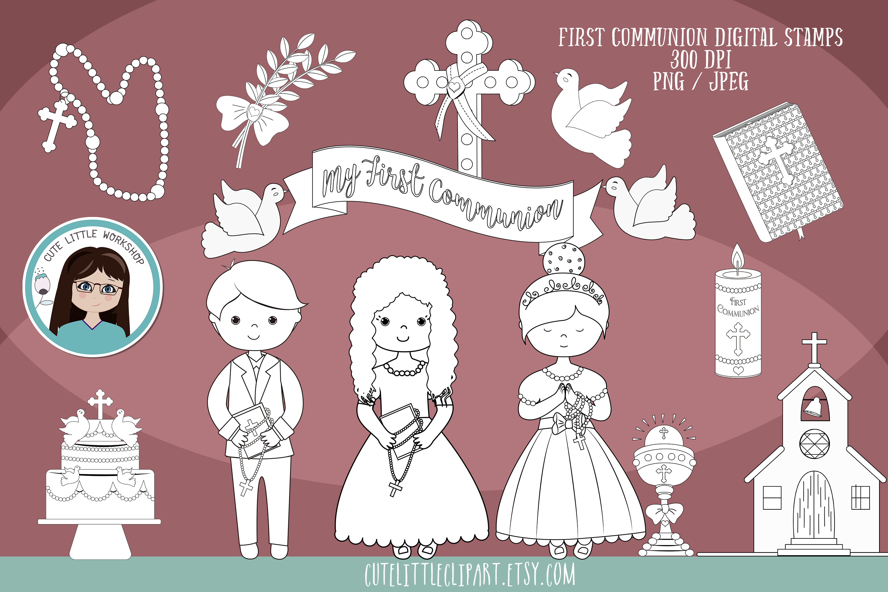 Download Free First Holy Communion Girl Stamps Grafik Von Cutelittleclipart for Cricut Explore, Silhouette and other cutting machines.