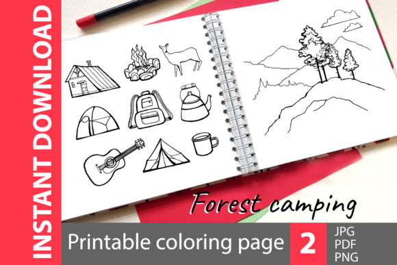 Forest Camping - 2 Coloring Pages Graphic Coloring Pages & Books Adults By NataliMyaStore