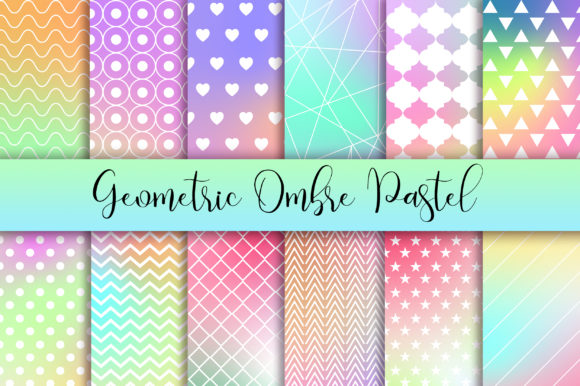 Geometric Ombre Pastel Background Graphic Backgrounds By PinkPearly