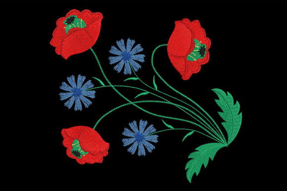 Gorgeous Poppy and Cornflowers Bouquets & Bunches Embroidery Design By Embroidery Shelter