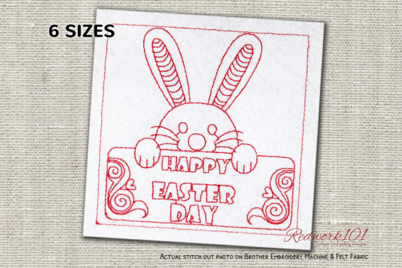 Happy Easter Day Redwork Easter Embroidery Design By Redwork101