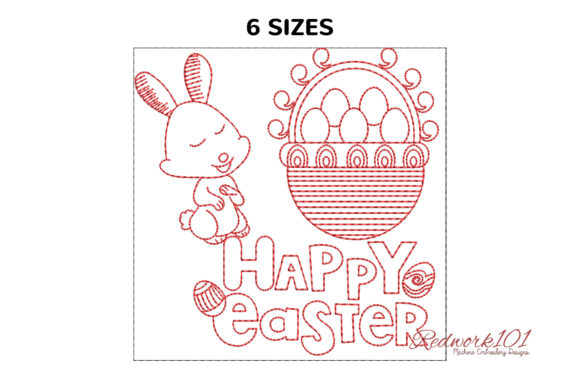 Happy Easter with Egg Basket Redwork Easter Embroidery Design By Redwork101