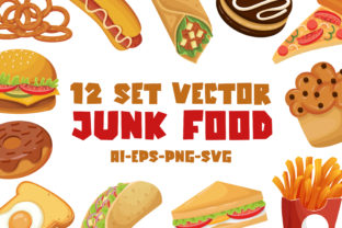 Print on Demand: Junk Food - Vector Set Graphic Illustrations By almarkhatype