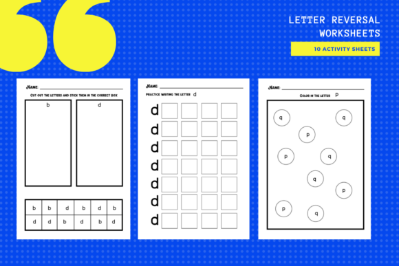 Download Free Letter Reversal Worksheets B D P Q Graphic By Yumbeehomeschool for Cricut Explore, Silhouette and other cutting machines.