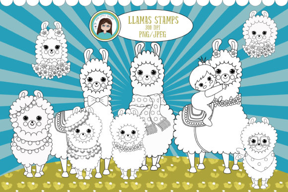 Llama Digital Stamps Graphic Coloring Pages & Books Kids By CuteLittleClipart