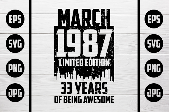Download Free March 1987 Tshirt Design Graphic By Zaibbb Creative Fabrica for Cricut Explore, Silhouette and other cutting machines.