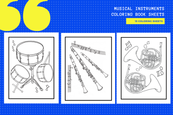 Print on Demand: Musical Instruments Colouring Sheets X15 Graphic Coloring Pages & Books Adults By yumbeehomeschool