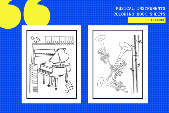 Download Free Musical Instruments Colouring Sheets X15 Graphic By for Cricut Explore, Silhouette and other cutting machines.