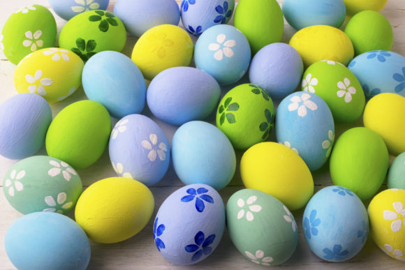 Print on Demand: Pastel Colored Easter Eggs Background Graphic Holidays By TasiPas