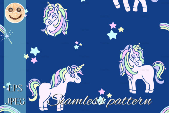 Print on Demand: Pink Unicorns on the Navy Blue Seamless Graphic Patterns By TasiPas