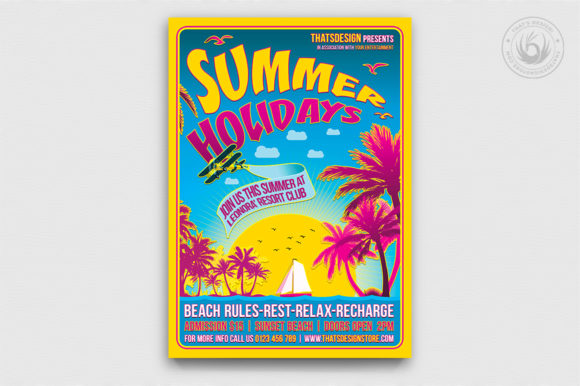 Summer Holidays Flyer Template V2 Graphic Print Templates By ThatsDesignStore
