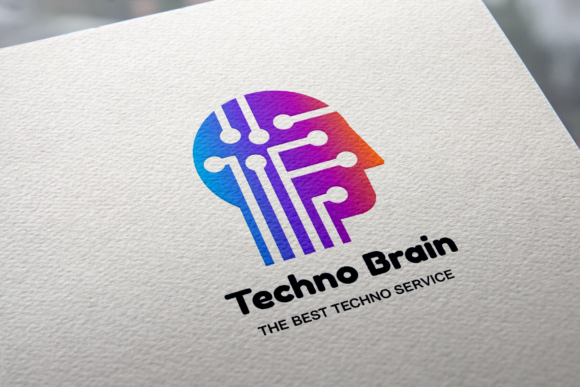 Print on Demand: Techno Brain Logo Graphic Logos By barsrsind