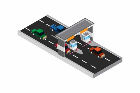 Print on Demand: Toll Road Exit Parking Payment Isometric Graphic Illustrations By aryo.hadi