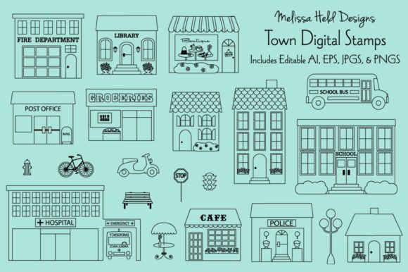 Town Buildings Digital Stamps Clipart Graphic Illustrations By Melissa Held Designs