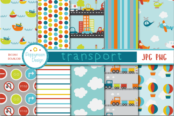 Print on Demand: Transport Paper Grafik Muster von poppymoondesign