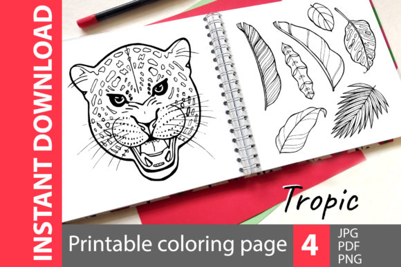 Tropic - Coloring Book Pages Graphic Coloring Pages & Books Adults By NataliMyaStore