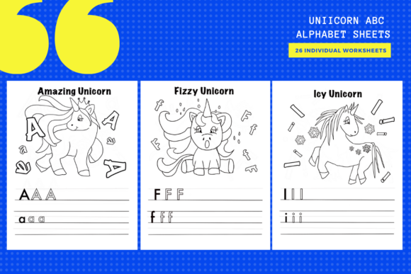 Print on Demand: Unicorn ABC Alphabet Worksheets X 26 Graphic Teaching Materials By yumbeehomeschool