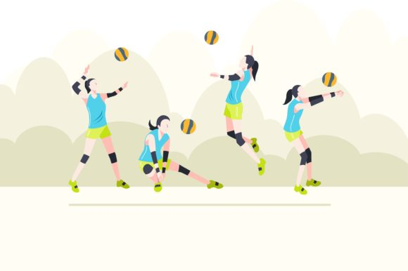 Print on Demand: Volley Ball Flat Design Graphic Illustrations By geadesign