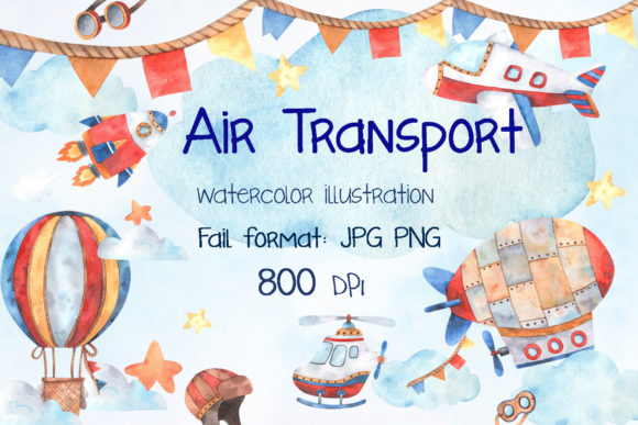 Print on Demand: Watercolor Air Transport Graphic Illustrations By VashaRisovasha