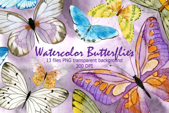 Watercolor Butterfly Graphic Illustrations By dvdarina