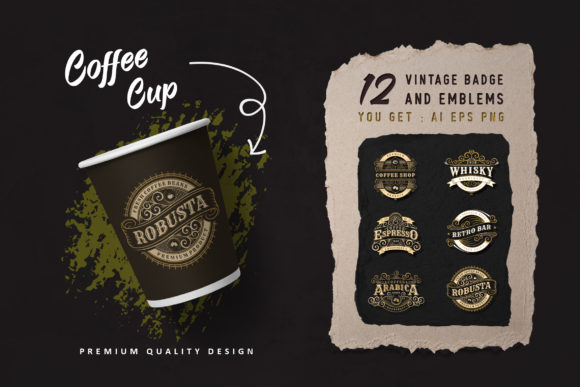 12 Vintage Coffee Shop Logo and Badges Graphic Logos By AllmoStudio