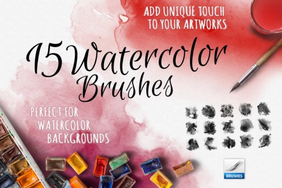 15 Watercolor Handmade Brushes Graphic Brushes By smpl.mrkt