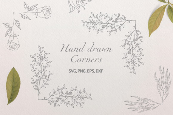 30 Hand Drawn Floral Corners and Borders Graphic Illustrations By Kirill's Workshop