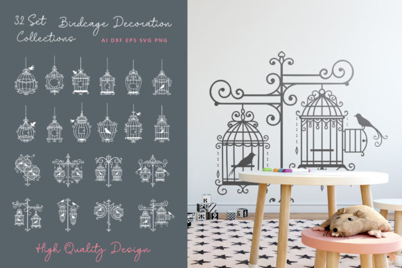 32 Set Birdcage Decoration Collection Graphic Crafts By AllmoStudio
