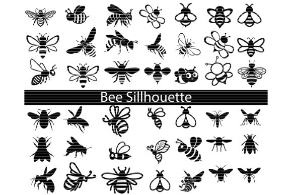 Print on Demand: Bee Silhouette Clip Art Bundle Graphic Crafts By MeshaArts