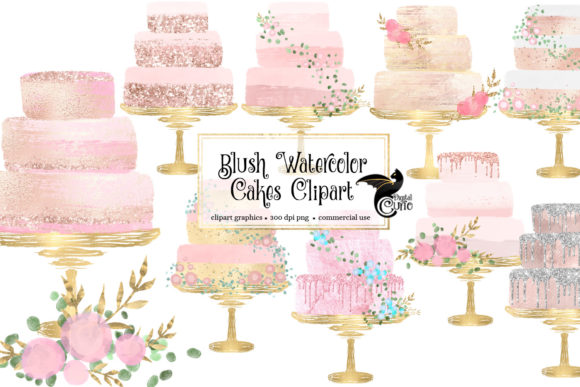 Print on Demand: Blush Watercolor Cakes Clipart Graphic Illustrations By Digital Curio - Image 1