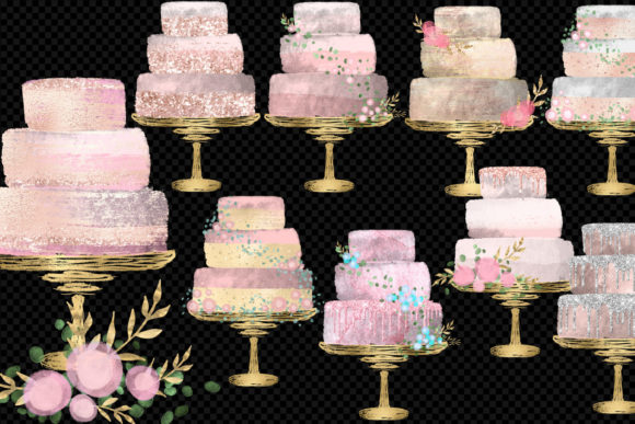 Print on Demand: Blush Watercolor Cakes Clipart Graphic Illustrations By Digital Curio - Image 2