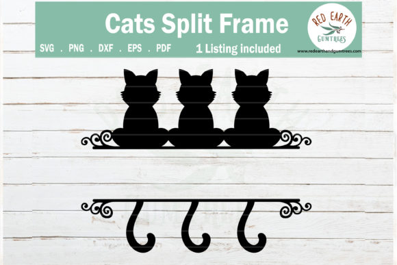 Cat Split Monogram Frame  Graphic Crafts By redearth and gumtrees