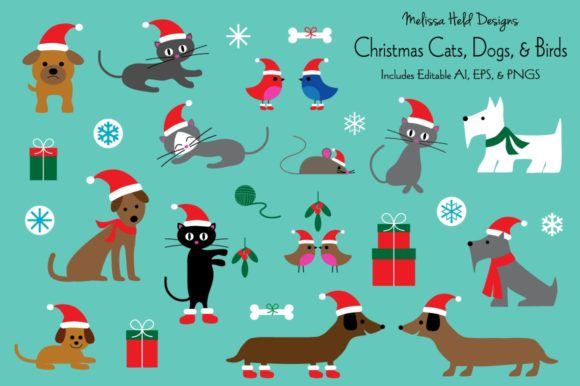 Christmas Cats, Dogs, and Birds Graphic Illustrations By Melissa Held Designs