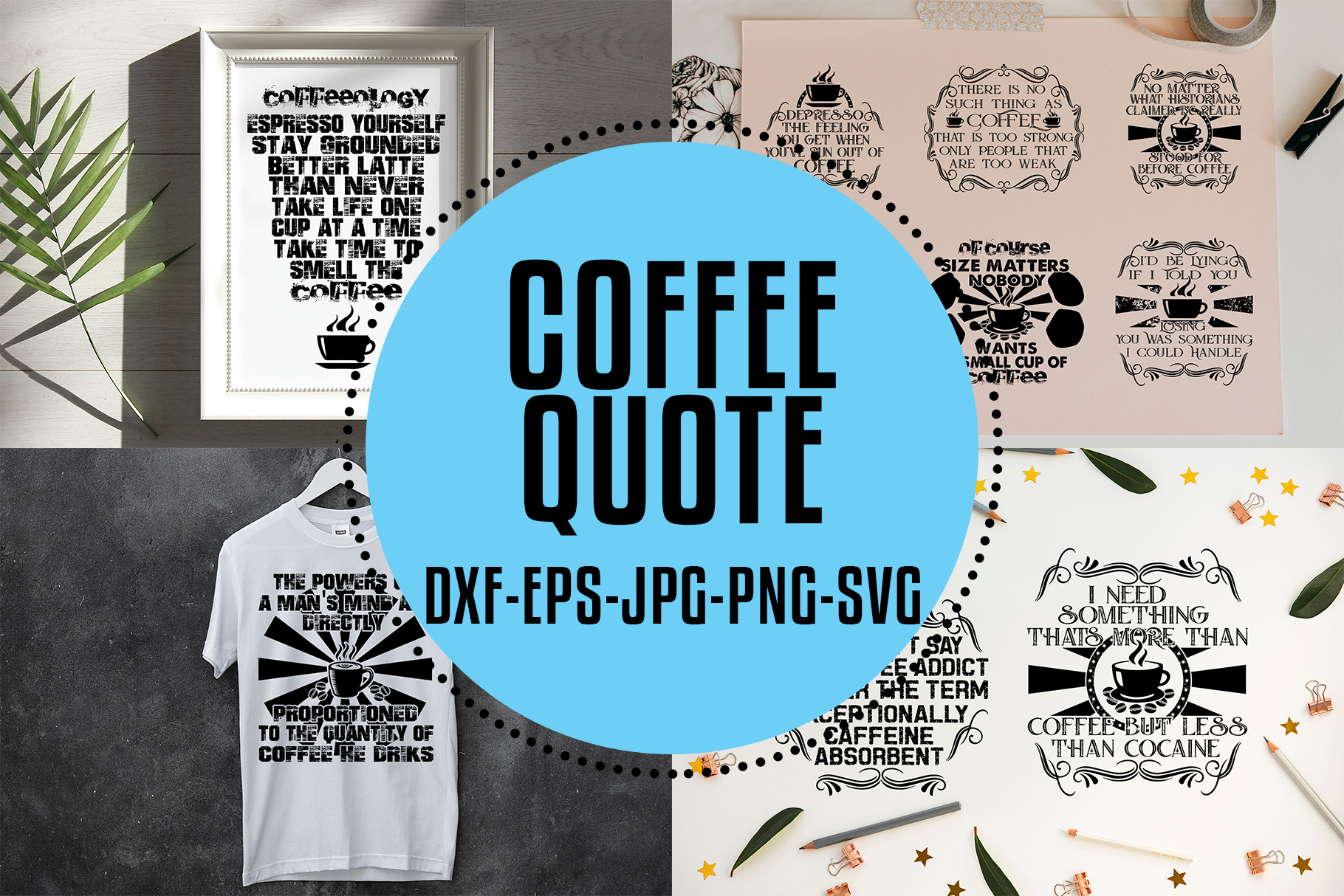 Download Free Coffee Quotes V2 Black Graphic By Tosca Digital Creative Fabrica for Cricut Explore, Silhouette and other cutting machines.
